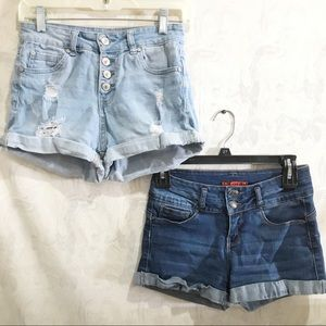 Wax jean high waisted denim shorts